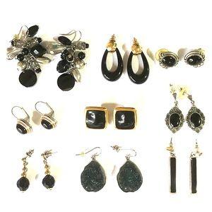 Jewelry - Nine pair of earrings with black stones